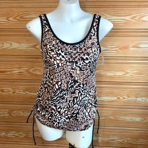 NWT Trimshaper Brown & White Paisley Swimsuit Top
